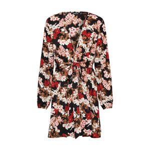 Boohoo Šaty 'Floral Self'  černá / světle červená / růžová