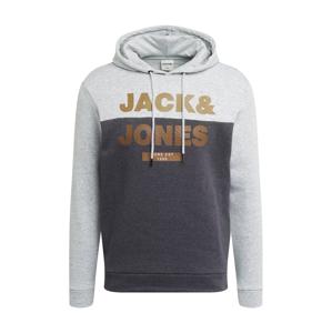 JACK & JONES Mikina  tmavě šedá / šedá / hnědá