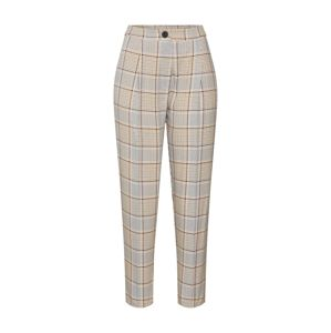 NEW LOOK Kalhoty se sklady v pase 'Spring Check Vicky'  hnědá / koňaková / šedá