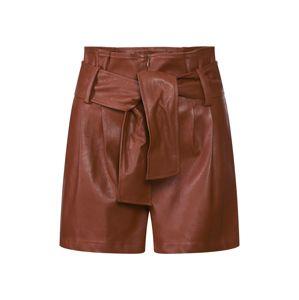 GLAMOROUS Kalhoty se sklady v pase  hnědá