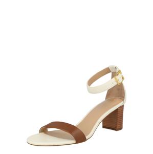Lauren Ralph Lauren Páskové sandály 'WAVERLI'  hnědá / bílá