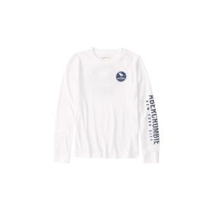 Abercrombie & Fitch Tričko  bílá / chladná modrá